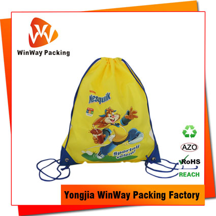 PO-074 Full Color Printing Promotional Drawstring Polyester Backpack